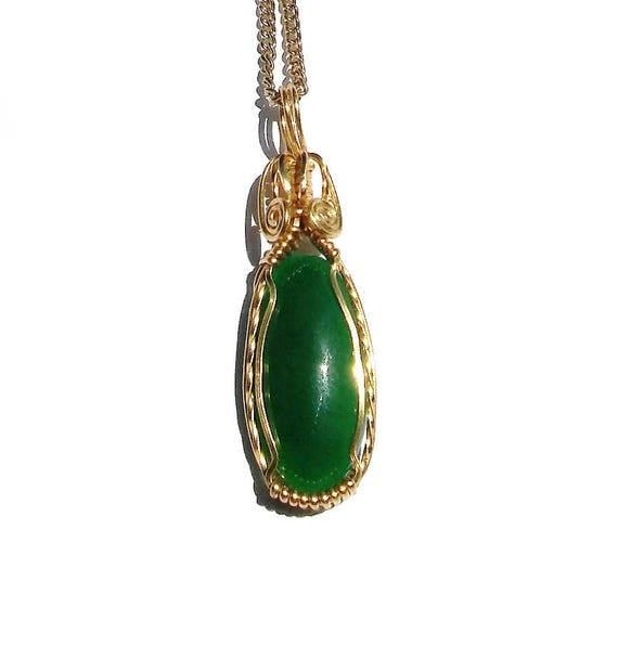Malaysia Jade Halskette grüne Jade Anhänger Jade Tropfen
