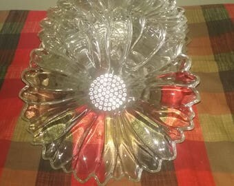 Vintage Clear Glass Sunflower Luncheon Dish