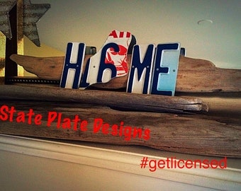 """Hand Crafted, Upcycled, """"State It"""" License Plate Driftwood Art; Customized"""