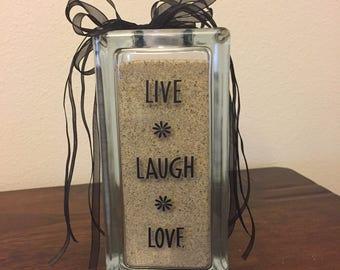 LIVE, LAUGH, LOVE Glass Block