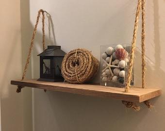 Wooden Swing Shelf, Wall Shelf, Hanging Shelf
