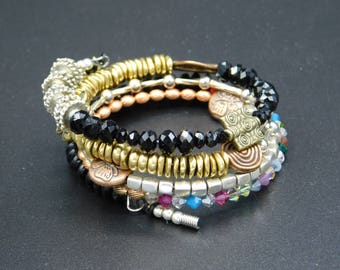 copper, silver, brass,crystal memory wrap bracelet