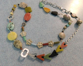 Long Multi Gemstone Necklace