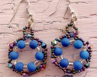 Hexagon Hoop Earrings in Blue