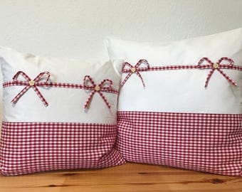 Country style Cushion cover * pillow * red/white 50x50cm.