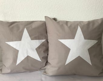 Country style Cushion cover * pillow * taupe/white 50x50cm.