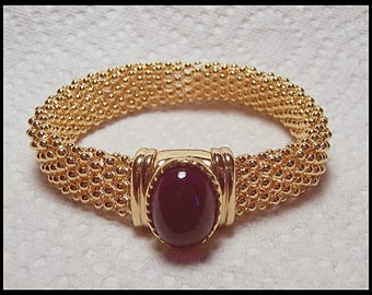Women's Gold Tone Bracelet Shiny Beads with Purple Stone Fashion Jewelry D9