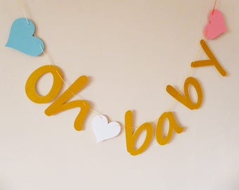 Oh baby banner, garland, Baby shower decor, Maternity photo prop, gold, pink, blue