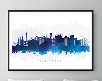 Las Vegas Skyline, Las Vegas Nevada Cityscape Art Print, Wall Art, Watercolor, Watercolour Art Decor [SWLAS06]