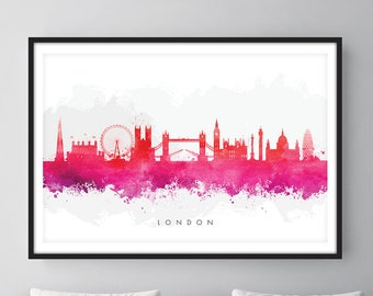 London Skyline, London Cityscape England, Art Print, Wall Art, Watercolor, Watercolour Art Decor [SWLDN09]