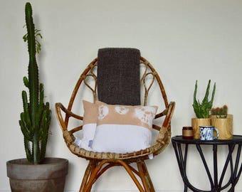 Shibori Tie Dye Ma Camel/white cushion