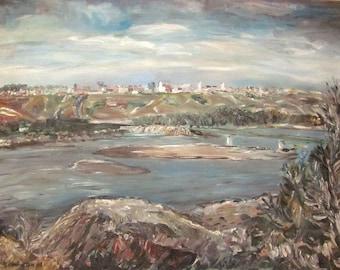 North Saskatchewan River with Historic North Battleford Skyline, 1969, by Fritz Stehwien