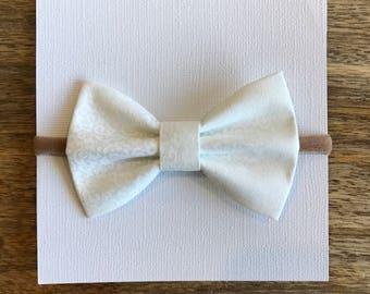 White nylon headband, barrette, or ponytail