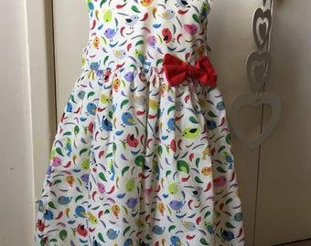 Happy Birds Cotton Pinafore Dress