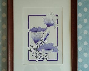 Art drawing original flowers poppies - ballpoint pen blue - poppies - inspiration the 20s
