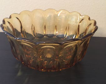 Vintage Large Amber Glass Bowl