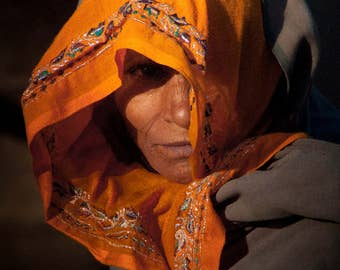 Woman in Orange Scarf at a Farm in Rajasthan India