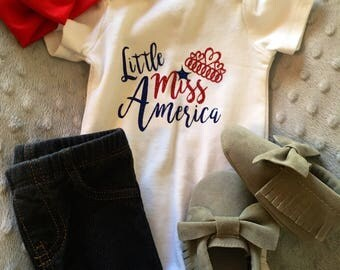 Little Miss America 4th of July Onesie