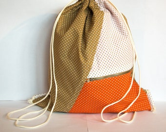 Multifunctional backpack, cotton with pois pattern, light and original design. Entirely handmade.