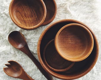 wood bowl set / sald bowls / wooden salad bowls / teak bowls