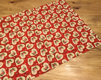 One Standard Pillowcase - Red with Hearts