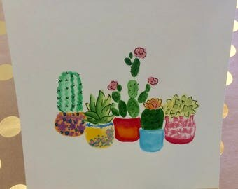 Cactus Card Succulent Card Original Greeting Card Watercolor