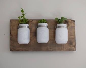 Beautiful Wall Decor, Wooden Mason Jar, Vases, Organizer, Herb Garden.