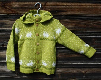 Alpaca sweater with hood, alpaca knits children, green sweater with white rabbits (size 4 years)