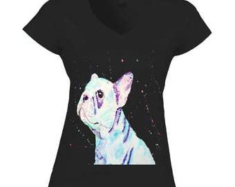 French bulldog shirt, french bulldog clothing, frenchie lover gift, v-neck t shirt women, v-neck women t shirt, dog lover gift, t shirt