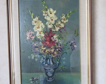 Painting still life floral vase, signed Bosio, 60 Years, oil on canvas technique