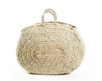 Natural Moroccan straw shopper