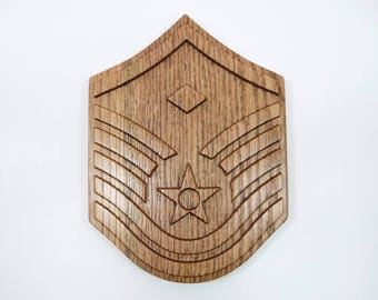 AIR FORCE First Sergeant Rank Plaque 1Sgt Carved Wood Wooden Military USAF Retirement Promotion E9 E8 E7