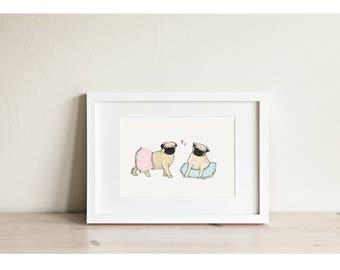 Pugs in Tutus - Mini Framed Print