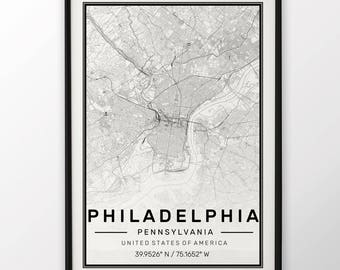 Philadelphia City Map Print, Modern Contemporary poster in sizes 50x70 fit for Ikea frame All city available London, New york Paris Madrid
