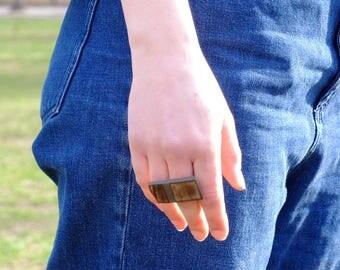 Flecked Bare Stripe Ring, brown
