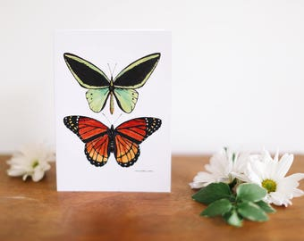 Two Butterfly Greeting Card and Note Card