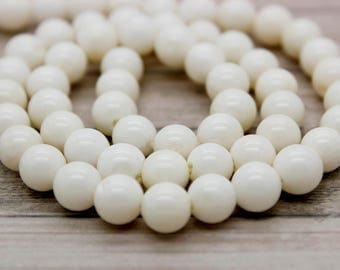 White Coral Round Ball Sphere Beads Natural Stone Gemstone (6mm 8mm 10mm)