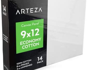 Arteza 9 X 12 Canvas Panel, Economy-Cotton (Pack of 14)