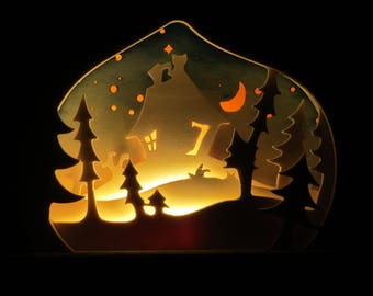 """Light sculpture """"A little house in the forest"""""""