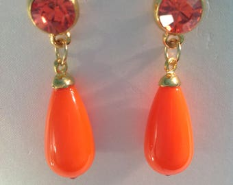 EARRINGS CRYSTAL ORANGE