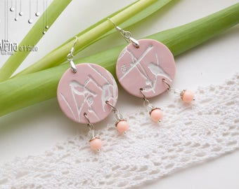 Earrings from polymer clay, hand made, springtime, rose, birds