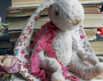 Easter Bunny Rose  OOAK  Artist Teddybear Rabbit Handmade Toy