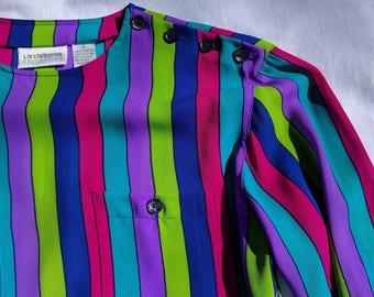 Liz Claiborne multicolored striped vintage (1980s) blouse - Bright, lightweight and fun!