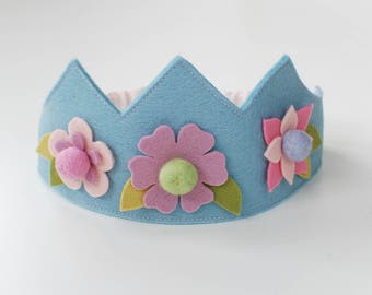 Wool felt crown, Flower crown, Birthday crown, Fairy crown