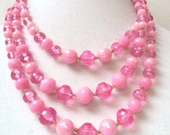 Wonderful Vintage Three Strand Pink Beaded Necklace - West Germany