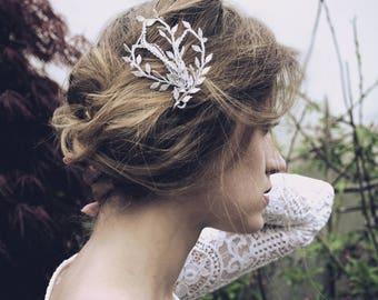 Bobbin Lace Crystal Hair Pins, Wedding Hair Pins, Gold Leaf Hair Pins, Bridal Hairpiece, Rhinestone Hair Pin, Crystal Bridal Hair