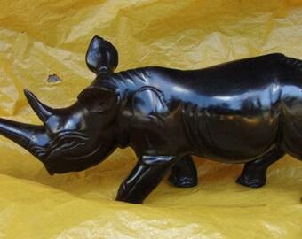 Handcarved wooden Rhino, hand craft rhino, wooden rhino, rhino figurine