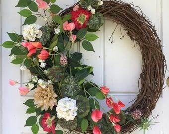 Red + White + Mauve | Spring Wreath | Summer Wreath | Grapevine Wreath | Greenery Wreath |  Front Door Wreath