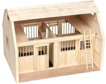 Wooden Deluxe Model Horse barn w/ Corral