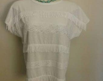 Classic 1980s fringe and lace top